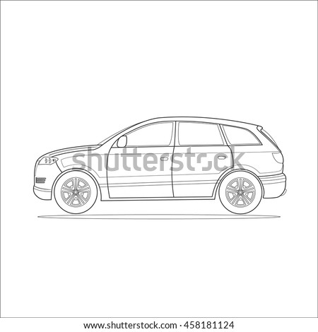 Outline Drawing Car Vector Islated Illustration
