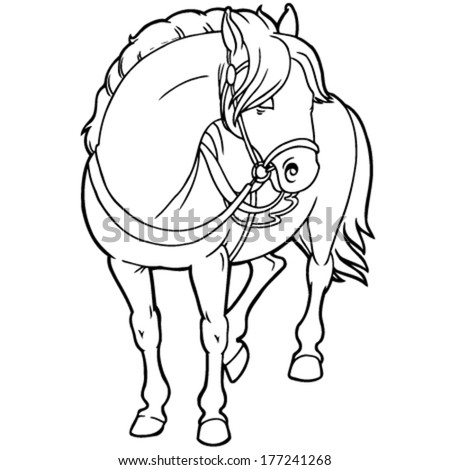 outline drawing of a horse with a saddle - stock vector