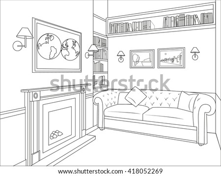 Outline Drawing Interior Living Room Sofa 418052269 on floor lamp frame