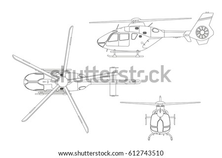 Outline drawing helicopter on white background stock vector outline drawing of helicopter on white background top side front view technical malvernweather Images