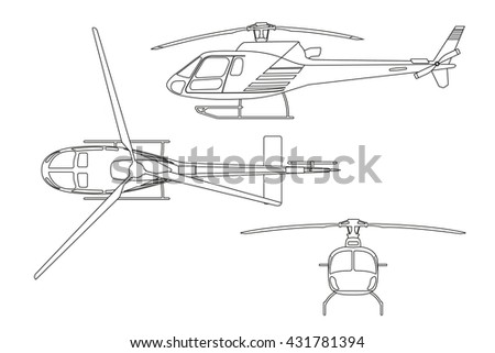 Stock Vector Outline Drawing Of Helicopter On White Background Top View Side Front Images Royalty Free
