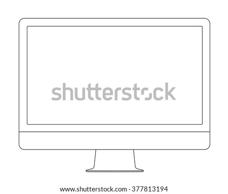 Outline drawing PC monitor. Elegant thin line style design. Vector illustration. - stock vector