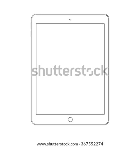 Outline drawing tablet similar to ipad air. Elegant thin line style design. - stock vector