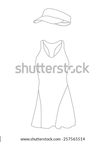 Outline drawing tennis dress with hat, cap, sportswear, sport clothing, tennis clothing - stock vector