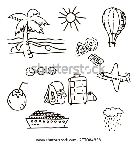 Outline drawings by hand in travel sketch vector palm trees, sun, luggage, ship, balloon, coconut - stock vector