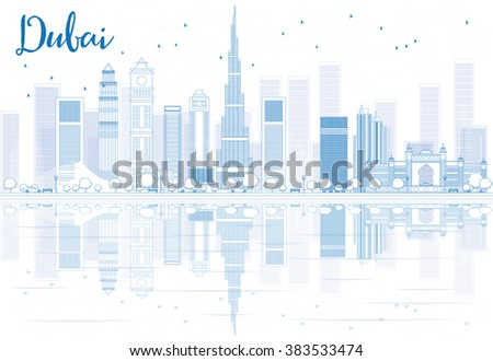 Outline Dubai skyline with blue buildings and reflections. Vector illustration. Business travel and tourism concept with place for text. Image for presentation, banner, placard and web site. - stock vector