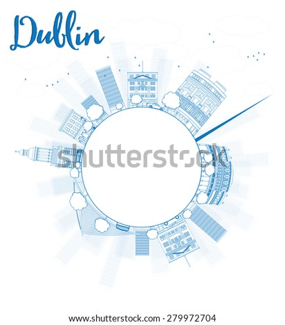 Outline Dublin Skyline with Blue Buildings and copy space, Ireland. Vector Illustration. Business travel and tourism concept with place for text. Image for presentation, banner, placard and web site. - stock vector