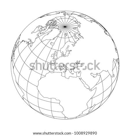 Outline Earth Globe With Map Of World Focused On Europe. Vector  Illustration.
