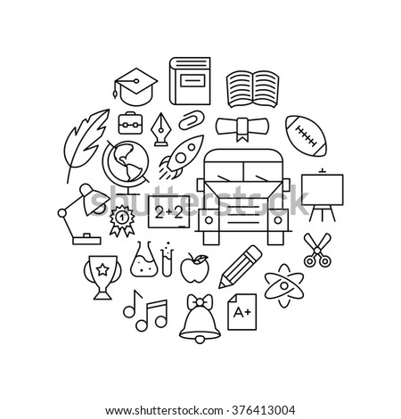 Outline Education Icons - stock vector