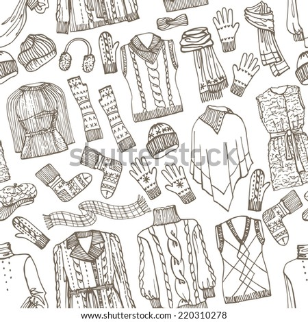 Outline Fashionable female knitted  clothing and accessories seamless pattern on Sketchy style.W Autumn ,winter woman wear.For fabric,background,backdrop,Wallpaper.Fashion Vector. - stock vector