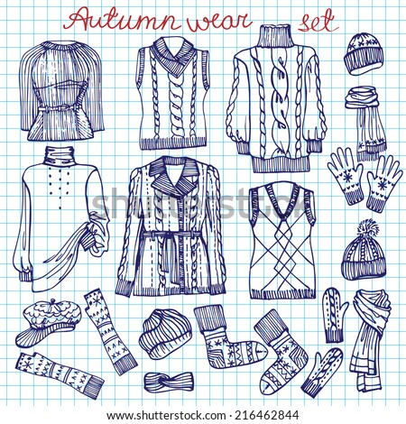 Outline Fashionable female knitted  clothing and accessories set on Sketchy style.W Autumn ,winter woman wear doodles  Sketchy notepaper .Fashion illustrations.Vector. - stock vector