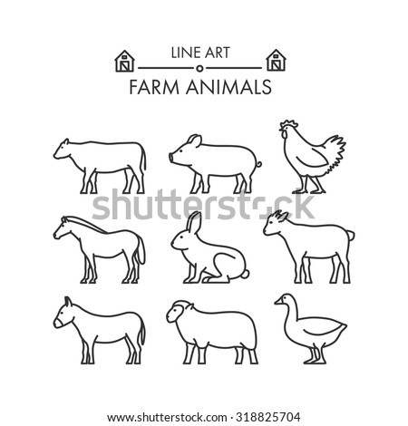 Outline figures of farm animals. Vector linear figures icon set. Vector cow, pig, chicken, horse, rabbit, goat, donkey, sheep and geese. Line farm animals. - stock vector