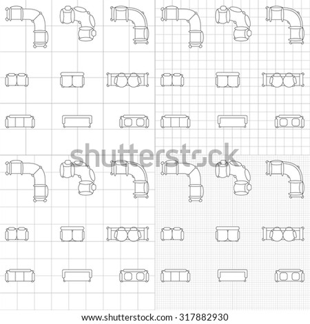 Furniture top view stock vector 508366732 shutterstock outline furniture sofa icons set line editable architecture graphic design elements collection on blueprint technical malvernweather Choice Image