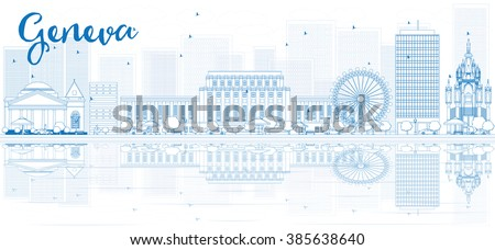 Outline Geneva skyline with blue buildings and reflections. Vector illustration. Business travel and tourism concept with place for text. Image for presentation, banner, placard and web site. - stock vector
