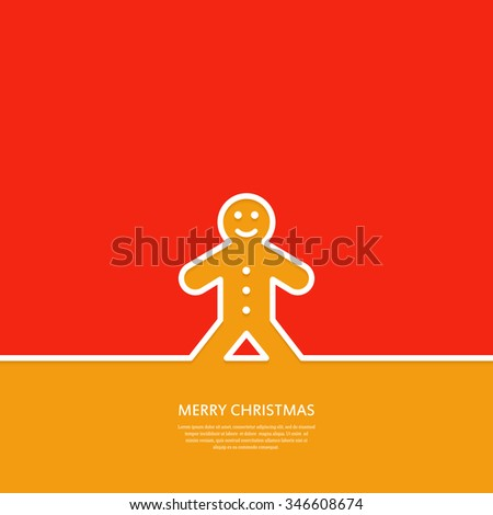 Outline  Gingerbread Man Cookie. Christmas card. Minimal Christmas  abstract background. Vector illustration.  - stock vector