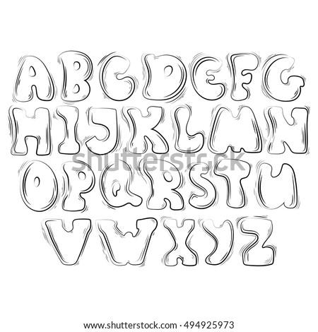 Outline Hand Drawn Alphabet On White Background Bubble Font Cartoon Elements