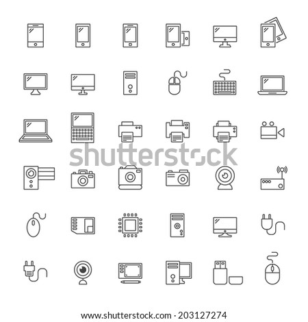 Outline Hardware Icon Set - Vector Graphics - stock vector