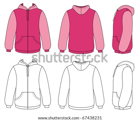 Outline hoodie illustration - stock vector