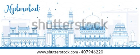 Outline Hyderabad Skyline with Blue Landmarks. Vector Illustration. Business Travel and Tourism Concept with Historic Buildings. Image for Presentation Banner Placard and Web Site. - stock vector
