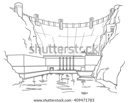 Outline hydroelectric dam