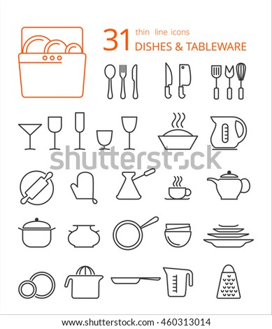 Outline icon collection - cooking, kitchen tools and utensils. Thin line icon set.