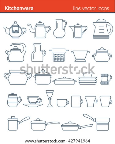 Outline icon collection - cooking, kitchen tools, kitchenware - stock vector
