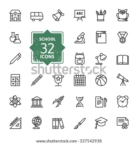 Outline icon collection - School education - stock vector