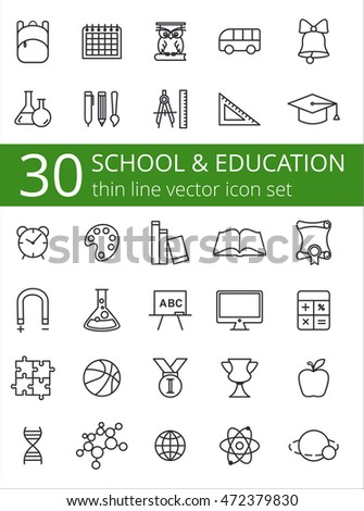 Outline icon collection - School education
