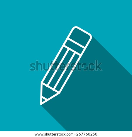 outline icon of pencil. School vector illustration - stock vector