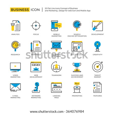 Outline Icon Set of Business Marketing,Management,Development and Research. High Quality Outline Icon Design,Modern outline vector design for website and mobile app. - stock vector