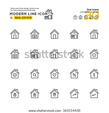 Outline Icon Set of Real Estate Icon Building Icon. High Quality Outline Icon Design , Modern outline vector design for website and mobile app.