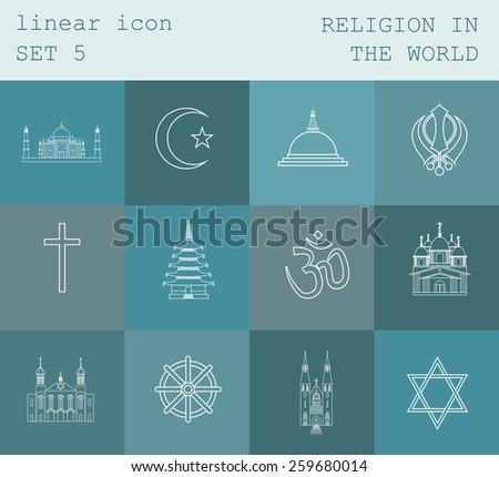 Outline icon set Religion in the world. Flat linear design. Vector illustration - stock vector
