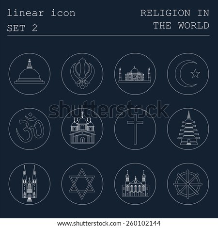 Outline icon set Religion in the world. Flat linear design. Vector illustration - stock vector