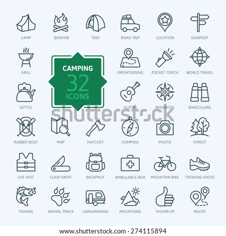 Outline icon set - summer camping, outdoor, travel. - stock vector