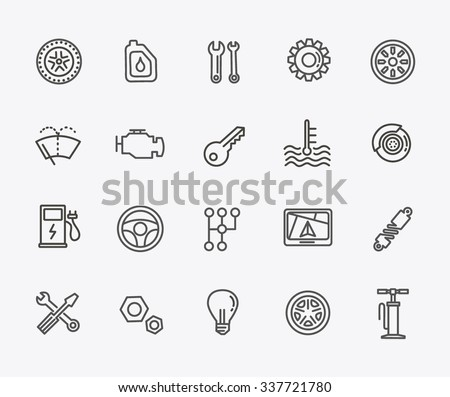 Outline icons. Car parts and services - stock vector