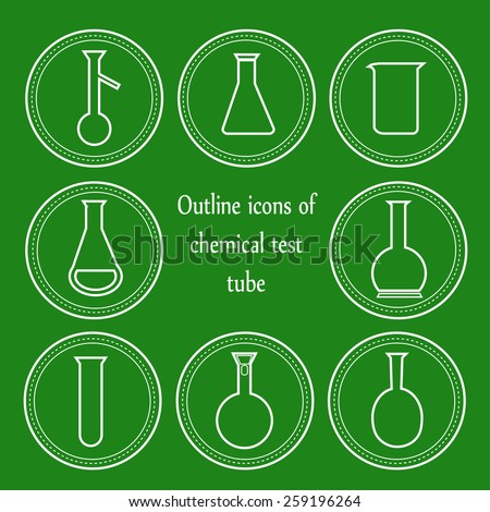 Outline icons of chemical test tube on the green background  - stock vector
