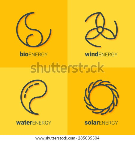 Outline icons of sun, drop, wind power station and leaf as logo with copyspace on yellow background. Idea of eco-friendly source of energy. Renewable energy concept. Alternative energy logo. Eco logo - stock vector