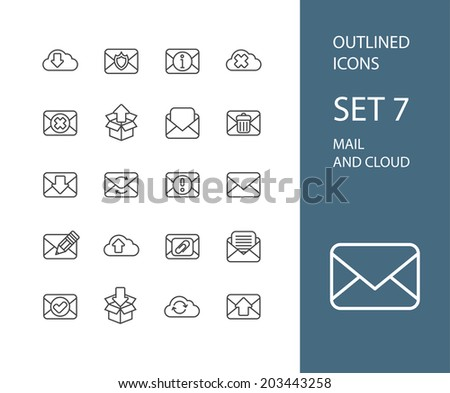 Outline icons thin flat design, modern line stroke style, web and mobile design element, objects and vector illustration icons set 7 - mail and cloud collection - stock vector
