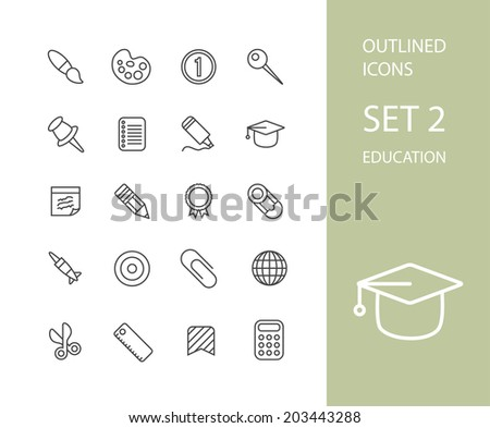 Outline icons thin flat design, modern line stroke style, web and mobile design element, objects and vector illustration icons set 2 - education collection - stock vector