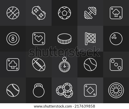 Outline icons thin flat design, modern line stroke style, web and mobile design element, objects and vector illustration icons set 12 - sport and game collection - stock vector