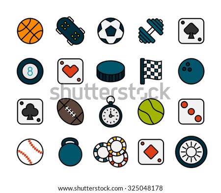 Outline icons thin flat design, modern line stroke style, web and mobile design element, objects and vector illustration icons set 12 - sport and game collection