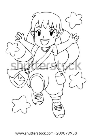 Outline illustration of a cheerful little girl - stock vector