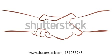 Outline illustration of a firm (helping, rescuing) handshake. - stock vector