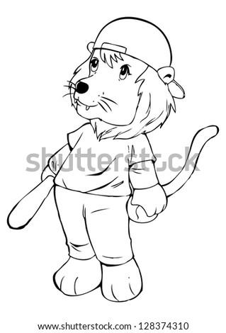 Outline illustration of a lion in baseball uniform - stock vector