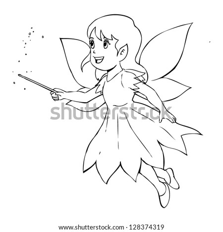 fairy graphic outline coloring pages | Outline Illustration Little Fairy Stock Vector (Royalty ...
