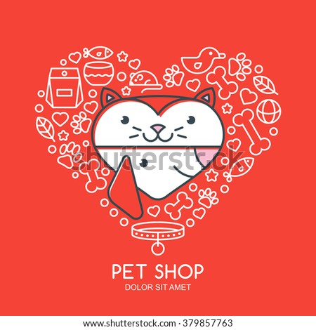 Outline illustration of cute cat and dog in heart shape. Goods for animals, vector icons set. Logo or label design elements. Trendy concept for pet shop, pets care and grooming, veterinary.