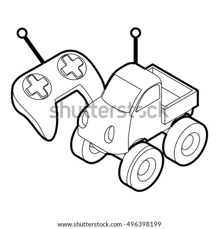 remote control drawing. outline illustration of remote control car toy vector icon for web drawing
