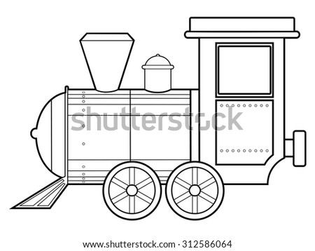 outline illustration of steam train, vintage transportation - stock vector