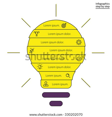 Outline infographics step by step in the form of light bulbs. Search ideas, creative process, brainstorm. Charts, diagrams with 8 steps, options, parts, processes. Vector template for presentation. - stock vector