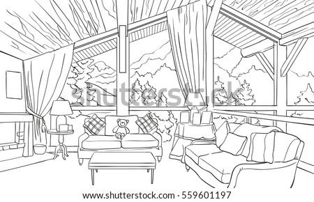 Outline Interior Alpine Chalet